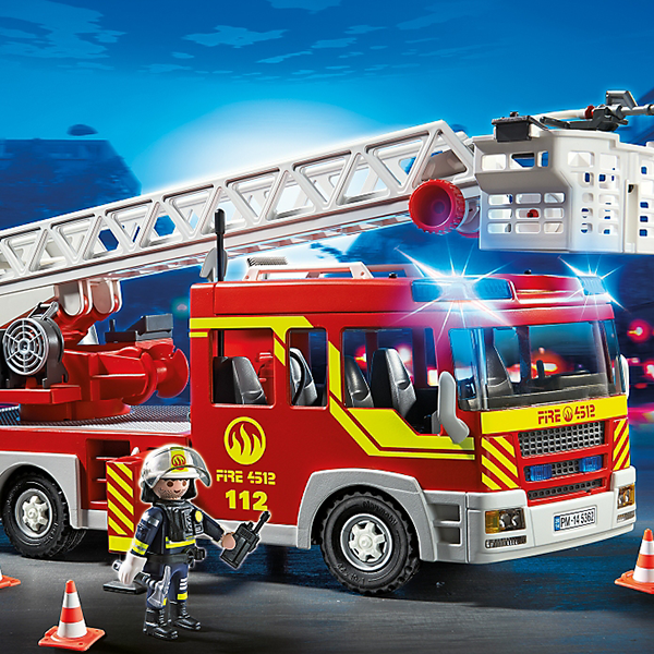 playmobil city action fire truck ladder unit with lights. Black Bedroom Furniture Sets. Home Design Ideas